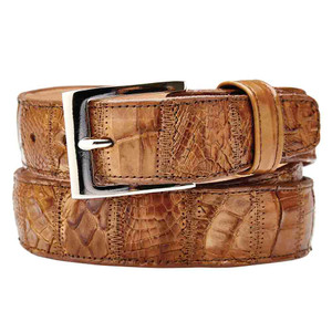 Belvedere Genuine Crocodile Honey Dress Belt