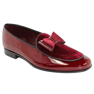 Duca Amalfi Burgandy Velvet & Leather Bow Dress Shoes