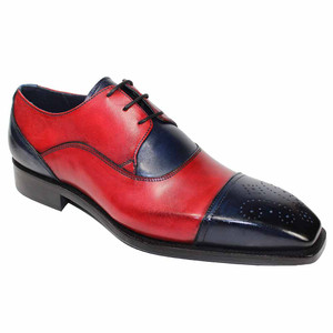 Duca Roma Navy & Red Leather Oxfords for Men