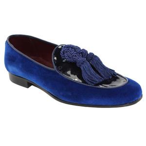 Duca Venezia Blue Leather Dress Shoes for Men