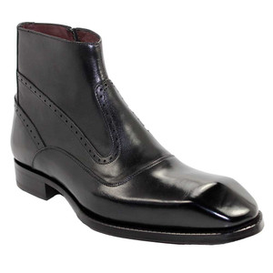Emilio Franco Davide Black Leather Ankle Boots