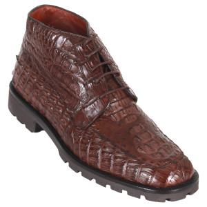 Los Altos Brown Caiman Hornback Square Toe Boots