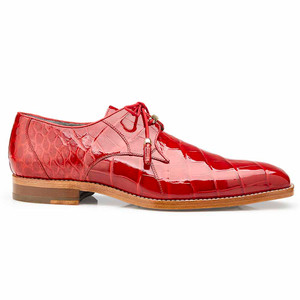 Belvedere Lago Red Genuine Alligator Tassel Laces Men's Oxford Shoes