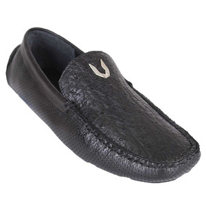 Vestigium Black Genuine Ostrich Driving Men's Loafers