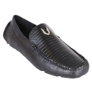 Vestigium Black Genuine Lizard Driver Men's Loafers