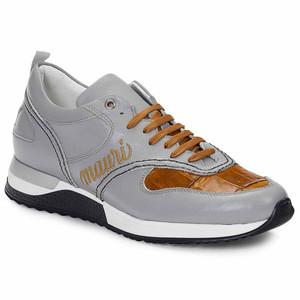 Mauri Ticino Anil Calf Light Grey & Baby Croc Corn Men's Casual Sneakers