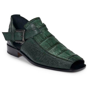 Mauri Olona Baby Croc & Ostrich Hand Painted Hunter Green Open Toe Men's Strap Sandal
