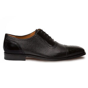 Mezlan Murino Calfskin & Deerskin Black Men's Lace Up Oxford Shoes