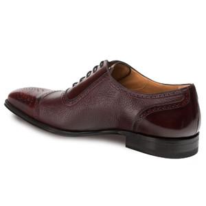 Mezlan Murino Calfskin & Deerskin Burgundy Men's Lace Up Oxford Shoes