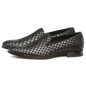 Mezlan Caba Italian Clafskin & Fabric Woven Black Men's Slip On Shoes