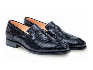 Mezlan Bixby Genuine Crocodile Black Classic Men's Loafer
