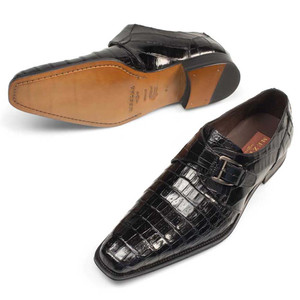 Mezlan Dallas Genuine Crocodile Black Classic Monk Strap Men's Slip on Shoes