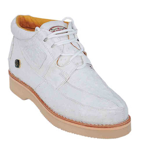 Los Altos White Full Ostrich Men's Casual Sneaker