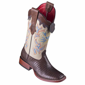 Los Altos Brown Teju Lizard Square Toe Women's Western Boot