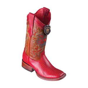 Los Altos Red Teju Lizard Square Toe Women's Western Boot