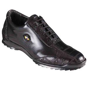 Los Altos Black Caiman Crocodile Patch Work Men's Casual Sneakers