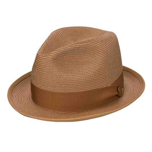 Stetson Latte Cognac Florentine Milan Firm Finish Bound Edge Sweat Band Hat