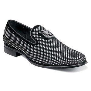 Stacy Adams Swagger Black & Silver Studded Ornament Men's Slip On