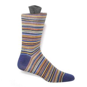 Tallia Ecru Blue & Gold Multi Striped Men's Socks