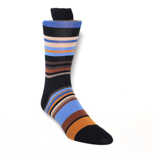 Tallia Navy Taupe Stripes Men's Socks