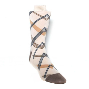 Tallia Ecru Multi Tone Cross Stripes Men's Socks