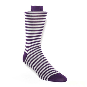 Tallia Plum & Grey Stripes Men's Socks