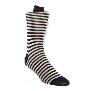 Tallia Navy & Ecru Stripes Men's Socks