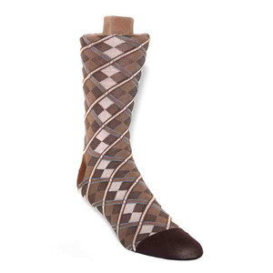 Tallia Taupe Beige Patterned Men's Socks