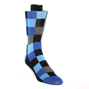 Tallia Black & Blue Block Patterned Men's Socks