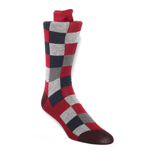 Tallia Red Block Patterned Men's Socks