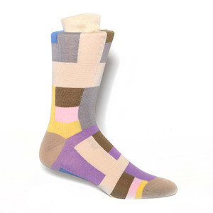 Tallia Ecru Multi Patterned Men's Socks