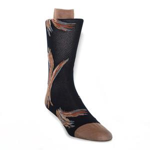 Tallia Navy & Taupe Floral Pattern Men's Socks