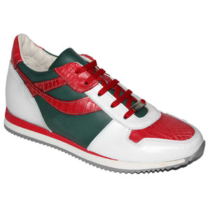 Fennix Sam Italian Red White Green Alligator & Calf Skin Men's Sneakers