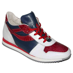Fennix Sam Italian Red White Navy Alligator & Calf Skin Men's Sneakers