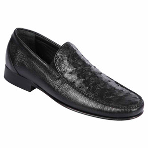Lombardy Black Ostrich & Calfskin Men's Slip On Shoes