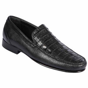 Lombardy Black Crocodile & Calfskin Men's Slip On Shoes