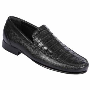 Lombardy Black Crocodile & Calfskin Men's Slip On Shoes