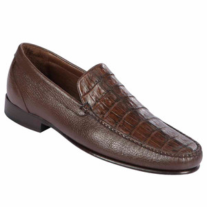 Lombardy Brown Crocodile & Calfskin Men's Slip On Shoes