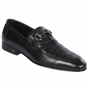 Lombardy Black Genuine Crocodile & Calfskin Men's Slip On Shoe