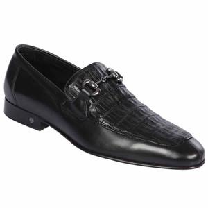 Lombardy Black Genuine Crocodile & Calfskin Men's Slip On Shoe