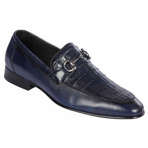 Lombardy Navy Genuine Crocodile & Calfskin Men's Slip On Shoe