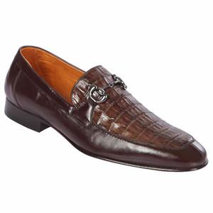 Lombardy Brown Genuine Crocodile & Calfskin Men's Slip On Shoes