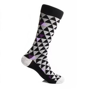 Steven Land Black Multi Two Tones Triangles Pattern Men's Socks