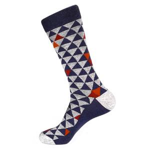 Steven Land Denim Multi Two Tones Triangles Pattern Men's Socks