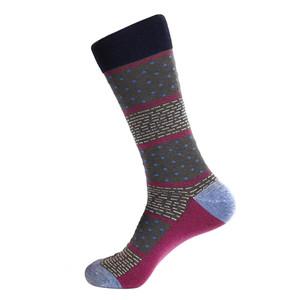 Steven Land Gray Multi Dots and Dashes Pattern Men's Socks
