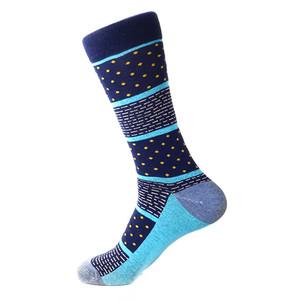 Steven Land Navy Multi Dots and Dashes Pattern Men's Socks