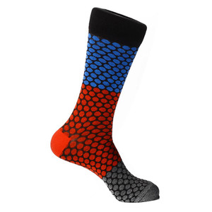 Steven Land Black Multi Honeycomb Printed Pattern Men's Socks