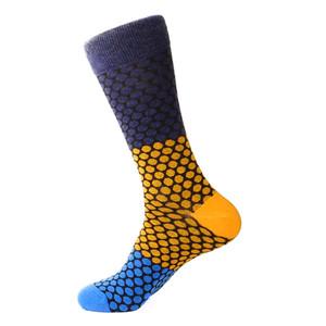 Steven Land Denim Multi Honeycomb Printed Pattern Men's Socks