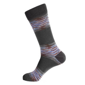Steven Land Gray Multi Linear Waves Printed Pattern Men's Socks