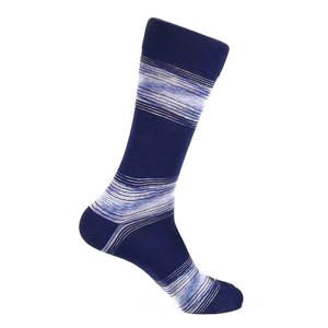 Steven Land Navy Multi Linear Waves Printed Pattern Men's Socks
